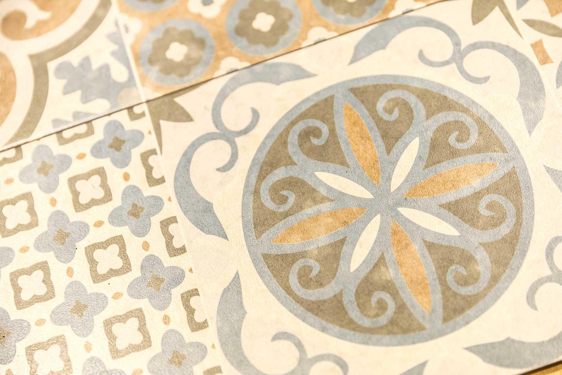 正方形復古花紋地磚