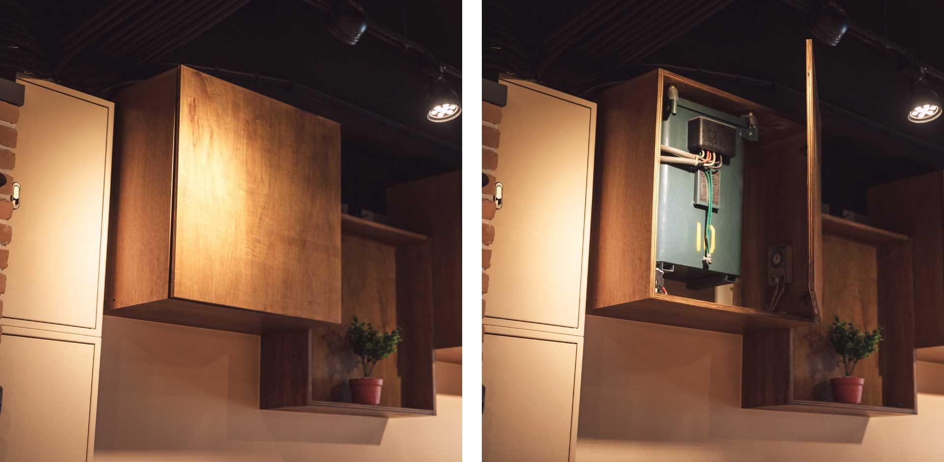 無法移動位置的變電器,就用櫃體包覆,與店內造型融為一體(左:開啟前、右:開啟後)