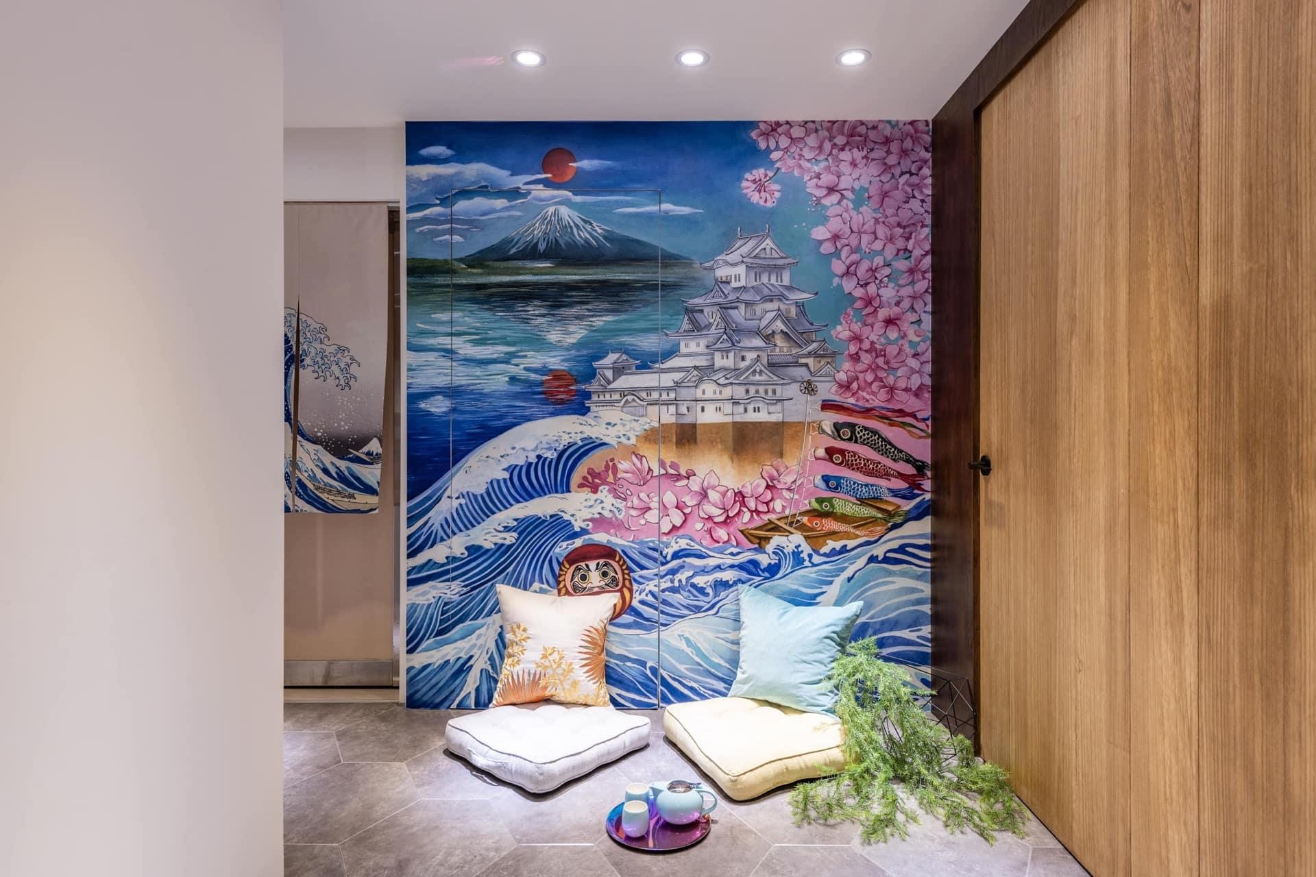 日本元素牆面插畫:富士山、姬路城、不倒翁、鯉魚旗…等(由玖恆客戶「權倫國際藝術」繪製)